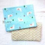 Cotton Fabric Singapore: Standard - White Llama Alpaca Cotton Fabric in Baby Blue「 ii Design Workz 」