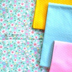 Cotton Fabric Singapore: Standard - Little Flowers Cotton Fabric on Mint Background「 ii Design Workz 」