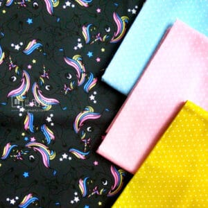 Cotton Fabric Singapore: Standard - Black Unicorn Cotton Fabric「 ii Design Workz 」