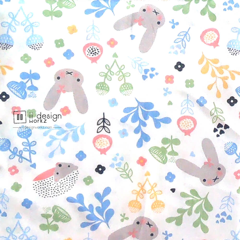 Cotton Fabric Singapore: Standard - Long Ears Rabbit & Porcupine Cotton Fabric「 ii Design Workz 」