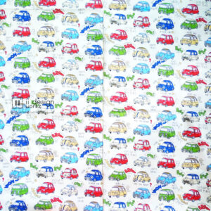 Cotton Fabric Singapore: Standard - Beep, Beep! Cartoon Beetle Cars Cotton Fabric「 ii Design Workz 」