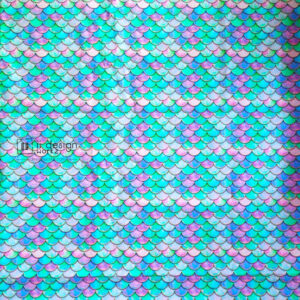 Cotton Fabric Singapore: Standard - Blue Pink Green Pearlescent Watercolor Gold Mermaid Scales Cotton Fabric「 ii Design Workz 」