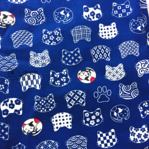 Cotton Fabric Singapore: Standard - Tiny Japanese Fortune Cats on Navy Background Cotton Fabric「 ii Design Workz 」