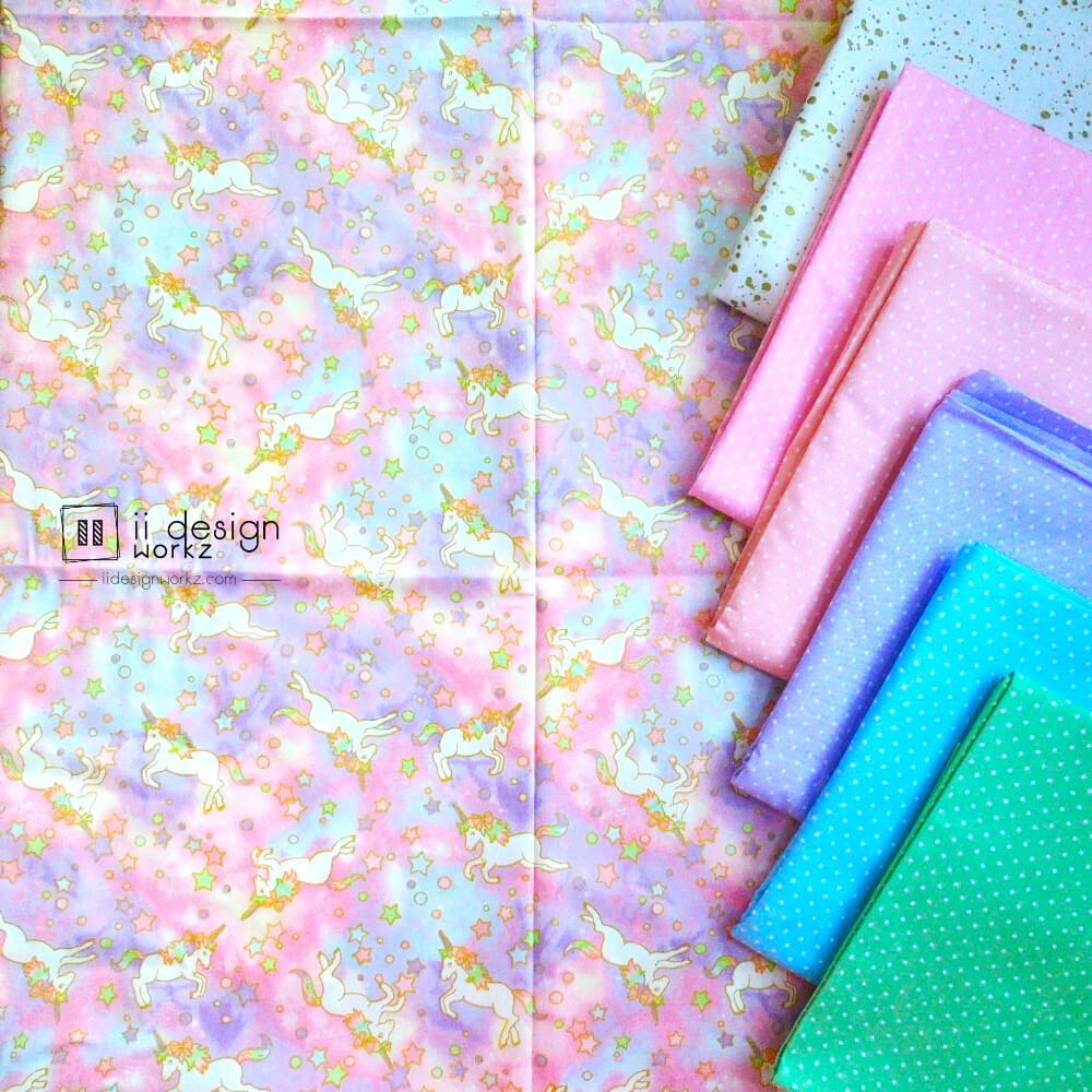Cotton Fabric Singapore: Dreamy Pink and Purple Unicorn Cotton Fabric「 ii Design Workz 」