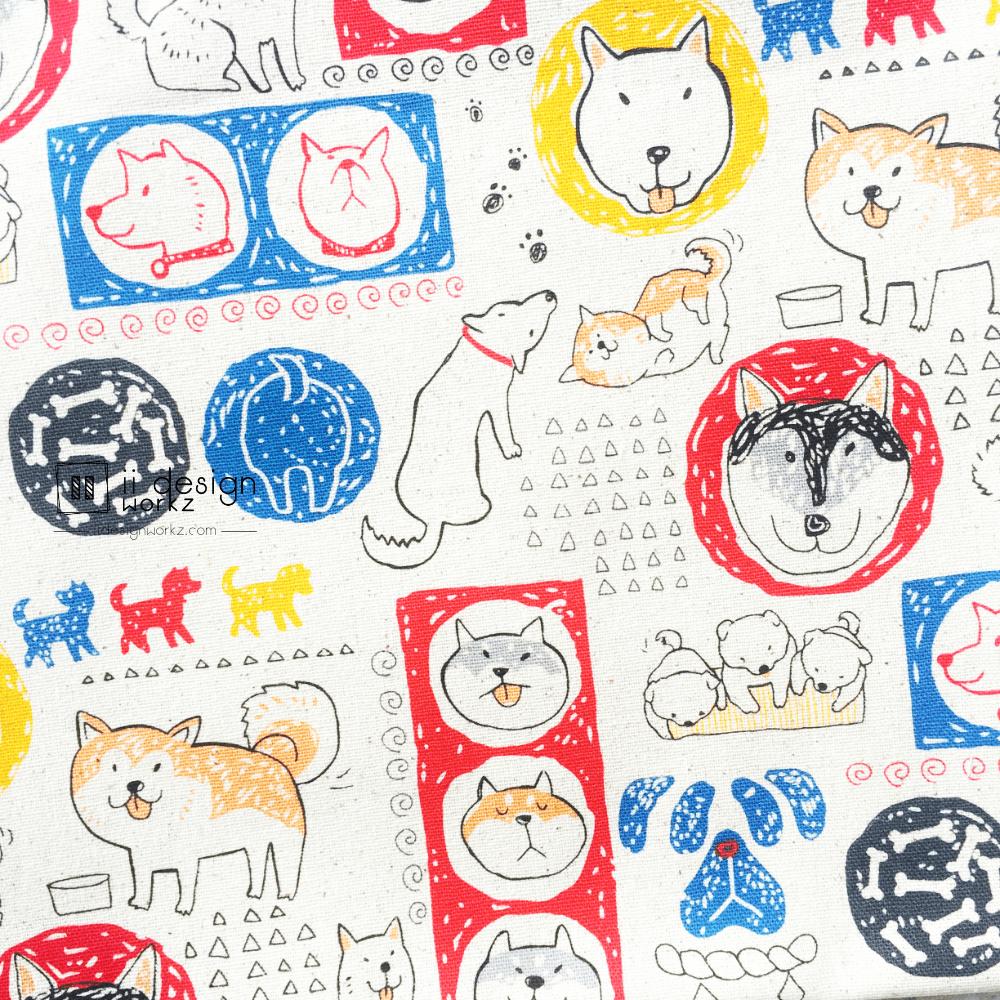 Cotton Fabric Singapore: Happy Dog's Life on Beige Background Taiwan Imported Cotton Fabric「 ii Design Workz 」