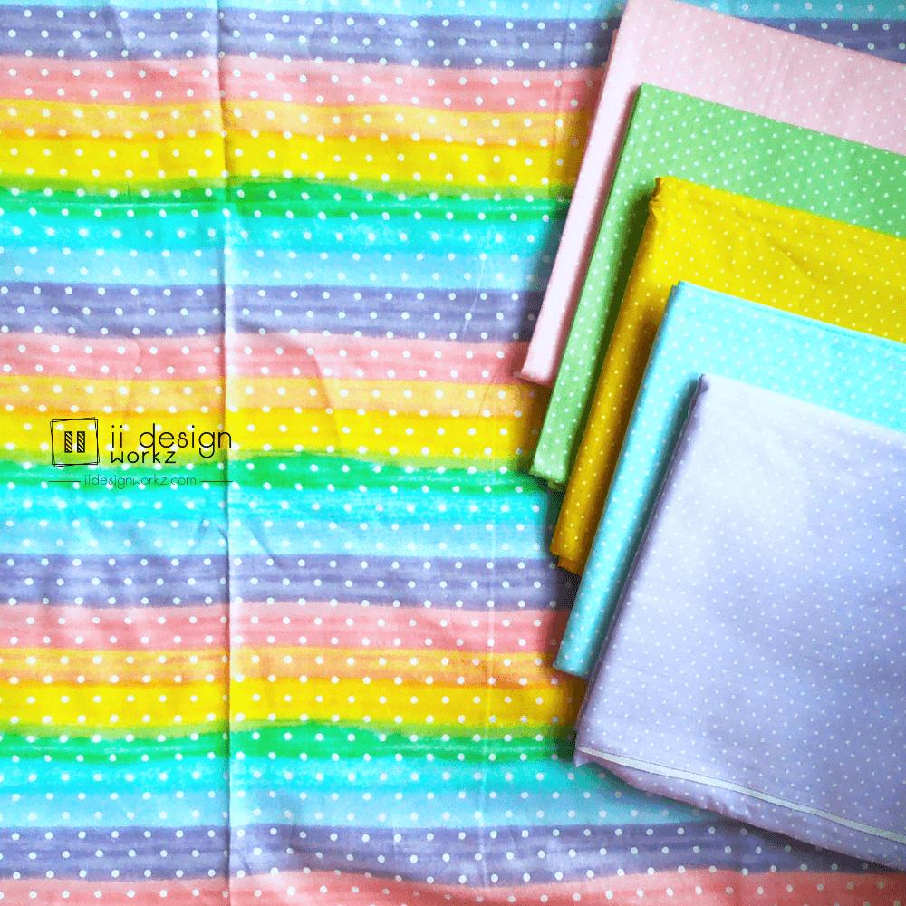 Cotton Fabric Singapore: Pastel Color Rainbow Stripe with White Dots Cotton Fabric「 ii Design Workz 」