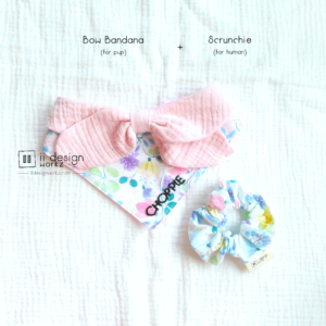 Dog Bandana Singapore | Dog Bow Bandana | Dog Bandana with Customized Hand-embroidery Name | Dog Accessories | Scrunchies Singapore「 ii Design Workz 」