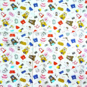 Cotton Fabric Singapore: Cute Bear Goes School Cotton Fabric 「 ii Design Workz 」