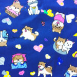 Dog's Lovely Diary on Navy Background Cotton Fabric