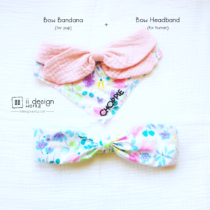 Dog Bandana Singapore | Dog Bow Bandana | Dog Bandana with Customized Hand-embroidery Name | Dog Accessories | Headband Singapore「 ii Design Workz 」