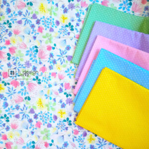 Cotton Fabric Singapore: Colorful Watercolor Purple Floral Cotton Fabric「 ii Design Workz 」
